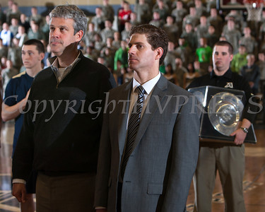 Army Director of Athletics Boo Corrigan and Army men's basketball head coach Zach Spiker, prepare for the trophy presentation, after Navy defeated Army 79-57 at the United States Military Academy's Christl Arena in West Point, NY on Saturday, February 8, 2014. Hudson Valley Press/CHUCK STEWART, JR.