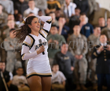 Army Cheerleaders kept the capacity crowd entertained as the Black Knight's were defeated by the Navy Midshipmen 79-57 at the United States Military Academy's Christl Arena in West Point, NY on Saturday, February 8, 2014. Hudson Valley Press/CHUCK STEWART, JR.