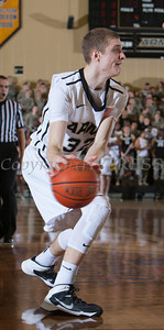 Army Forward Tanner Plomb (32) looks to pass the ball as the Black Knight's were defeated by the Navy Midshipmen 79-57 at the United States Military Academy's Christl Arena in West Point, NY on Saturday, February 8, 2014. Hudson Valley Press/CHUCK STEWART, JR.