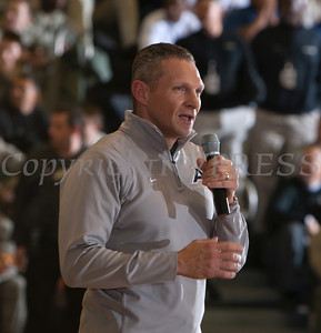 Jeff Monken, Army's new head football coach, addresses those gathered at the United States Military Academy's Chrisl Arena in West Point, NY on Saturday, February 8, 2014. Navy defeated Army 79-57. Hudson Valley Press/CHUCK STEWART, JR.