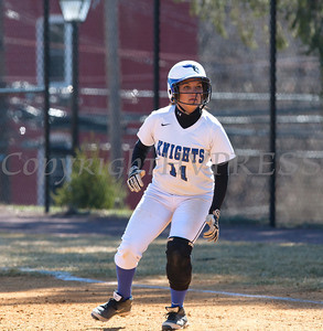 OF Sabrina Gordek (11) singles as the Mount Saint Mary College women's softball team splits a doublheader against The College at Old Westbury on Sunday, April 6, 2014 at the Mount in Newburgh, NY. Hudson Valley Press/CHUCK STEWART, JR.