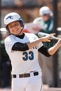 Freshman Short Stop Breanna DePasquale (33) singles as the Mount Saint Mary College women's softball team splits a doublheader against The College at Old Westbury on Sunday, April 6, 2014 at the Mount in Newburgh, NY. Hudson Valley Press/CHUCK STEWART, JR.
