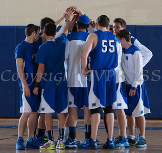 Yeshiva Maccabees huddle up prior to the Mount Saint Mary Knight's defeating them 88-58 in their Skyline Conference game on Thursday, January 23, 2014 in the Kaplan Center in Newburgh, NY. Hudson Valley Press/CHUCK STEWART, JR.