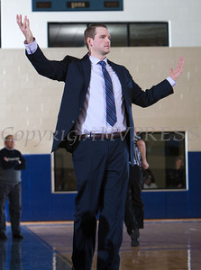 Mount Saint Mary head coach Ryan Kadlubowski reacts to a call as the Knight's defeated the Yeshiva University  Maccabees 88-58 in their Skyline Conference game on Thursday, January 23, 2014 in the Kaplan Center in Newburgh, NY. Hudson Valley Press/CHUCK STEWART, JR.