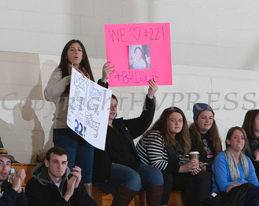 Mount Saint Mary fans cheer on Joe Stabach as the Knight's defeated the Yeshiva University Maccabees 88-58 in their Skyline Conference game on Thursday, January 23, 2014 in the Kaplan Center in Newburgh, NY. Hudson Valley Press/CHUCK STEWART, JR.