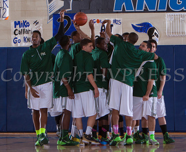 The Farmingdale State Rams huddle up prior to the Mount Saint Mary Knight's defeating them 69-58 in their Skyline Conference game on Saturday, February 22, 2014 in the Kaplan Center in Newburgh, NY. Hudson Valley Press/CHUCK STEWART, JR.