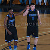 Mount Saint Mary Guards Donte Howell (2) and Joe Stabach (11) celebrate as the Knight's defeated the Farmingdale State Rams 69-58 in their Skyline Conference game on Saturday, February 22, 2014 in the Kaplan Center in Newburgh, NY. Hudson Valley Press/CHUCK STEWART, JR.