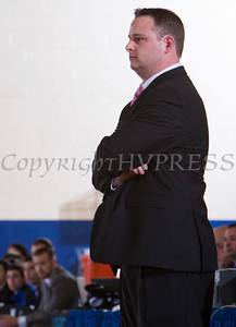 Farmingdale State Ram head coach Brendon Twomey watches as the Mount Saint Mary Knight's defeated them 69-58 in their Skyline Conference game on Saturday, February 22, 2014 in the Kaplan Center in Newburgh, NY. Hudson Valley Press/CHUCK STEWART, JR.