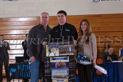 Senior Joe Stabach was recognized on Saturday. Each senior was joined by his parents and received a gift to celebrate his four years with the Black and Blue. Hudson Valley Press/CHUCK STEWART, JR.
