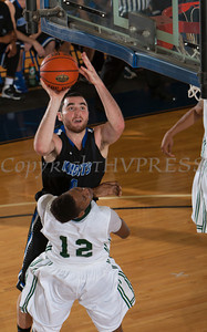 Mount Saint Mary Forward Chris Pisciotta (10) drives to the basket as the Knight's defeated the Farmingdale State Rams 69-58 in their Skyline Conference game on Saturday, February 22, 2014 in the Kaplan Center in Newburgh, NY. Hudson Valley Press/CHUCK STEWART, JR.