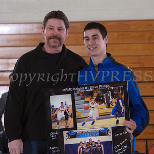 Senior Steve Phillips was recognized on Saturday. Each senior was joined by his parents and received a gift to celebrate his four years with the Black and Blue. Hudson Valley Press/CHUCK STEWART, JR.