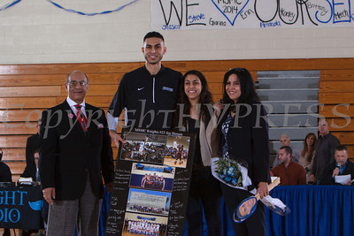 Senior Joe Henain was recognized on Saturday. Each senior was joined by his parents and received a gift to celebrate his four years with the Black and Blue. Hudson Valley Press/CHUCK STEWART, JR.