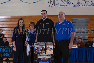 Senior Chris Pisciotta was recognized on Saturday. Each senior was joined by his parents and received a gift to celebrate his four years with the Black and Blue. Hudson Valley Press/CHUCK STEWART, JR.