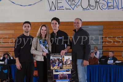 Senior Anthony Cipriano was recognized on Saturday. Each senior was joined by his parents and received a gift to celebrate his four years with the Black and Blue. Hudson Valley Press/CHUCK STEWART, JR.