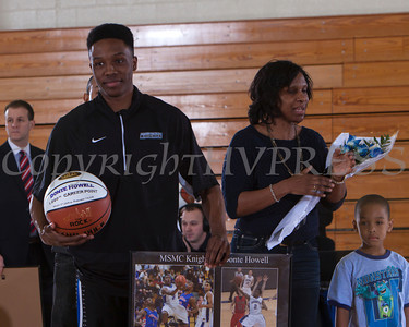Senior Donte Howell was recognized on Saturday. Each senior was joined by his parents and received a gift to celebrate his four years with the Black and Blue. Hudson Valley Press/CHUCK STEWART, JR.