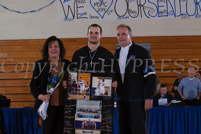 Senior AJ Uhl was recognized on Saturday. Each senior was joined by his parents and received a gift to celebrate his four years with the Black and Blue. Hudson Valley Press/CHUCK STEWART, JR.