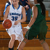 Mount Saint Mary Forward Jessica Perrone (35) drives to the basket against the Old Westbury Panthers, in their Skyline Conference game Sunday, February 23, 2014 at the Kaplan Center in Newburgh, NY. The Panthers defeated the Mount 73-69. Hudson Valley Press/CHUCK STEWART, JR.