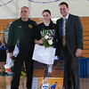 Senior Rachel Perrone was recognized on Sunday, February 23, 2014. Each senior was joined by her parents and received a gift to celebrate her four years with the Black and Blue. Hudson Valley Press/CHUCK STEWART, JR.