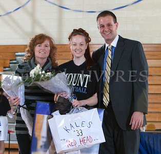 Senior Kaeley Miller was recognized on Sunday, February 23, 2014. Each senior was joined by her parents and received a gift to celebrate her four years with the Black and Blue. Hudson Valley Press/CHUCK STEWART, JR.