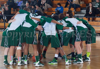 The Old Westbury Panthers huddle up prior to defeating the Mount Saint Mary College women's basketball team, 73-69, in their Skyline Conference game Sunday, February 23, 2014 at the Kaplan Center in Newburgh, NY. Hudson Valley Press/CHUCK STEWART, JR.