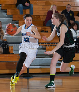 Mount Saint Mary College Forward Natalie Candarelli (42) drives to the basket against The Sage Colleges. MSMC fell 66-54, in their Skyline Conference opener Tuesday, January 7, 2014 at the Kaplan Center in Newburgh, NY. Hudson Valley Press/CHUCK STEWART, JR.
