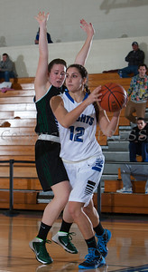 Mount Saint Mary College Forward Rachel Perrone (12) drives to the basket as the Mount women's basketball team fell to The Sage Colleges, 66-54, in their Skyline Conference opener Tuesday, January 7, 2014 at the Kaplan Center in Newburgh, NY. Hudson Valley Press/CHUCK STEWART, JR.