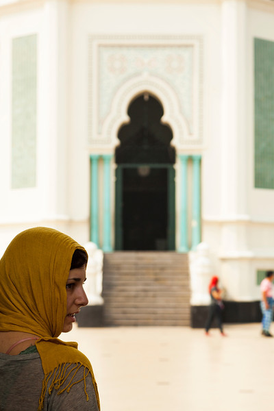 Aurora stands in the entry to the mosque, prior to our tour of the interior.