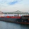 Tanker Overseas Ambermar heads towards Chelsea Creek just before sunrise on August 17, 2014.