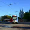 UTA Trax LRV makes the turn onto South Temple in Salt Lake City.