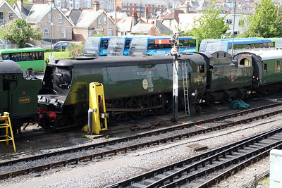 4-6-2 34070 'Manston' at Swanage Station sidings.