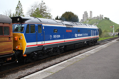50026 'Indomitable' at Corfe Castle.