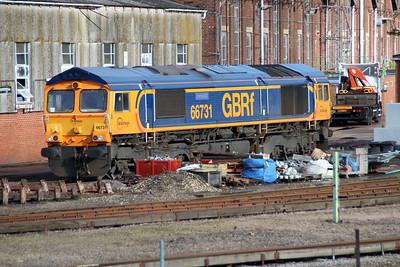 66731 'Interhub GB' seen at Eastleigh Works.