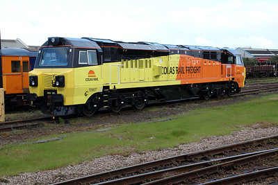 New Colas 70807 seen at Eastleigh Station sidings.