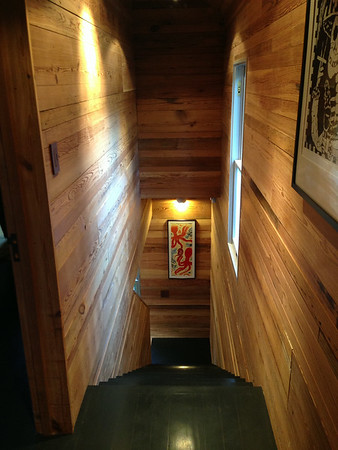 Carriage house, steps. Wood reused from original building.