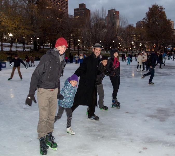 Benjamin, Hannah, Chip, Joey, and Isabel, skating