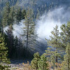 """The site of the FOrrest Fire the evening before. Firefighters where still """"moping up"""" after Helicopters dropped a number of water buckets."""
