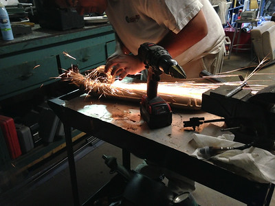 Cutting out a section of the heat shield
