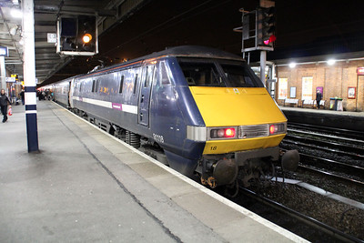 The last Blue Class 91 91118 on a Kings Cross service at Doncaster.
