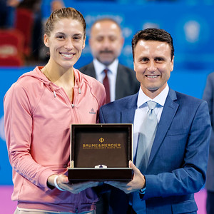 01.14 Andrea Petkovic receives great watch from Baume & Mercier - WTA Champions finals Sofia 2014_01.14
