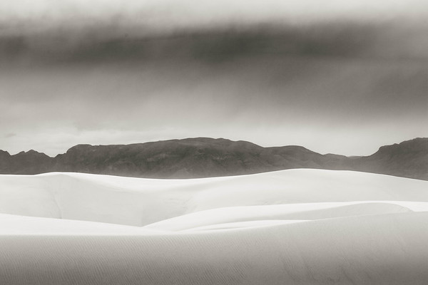 Dunes, Mountains Rain Clouds, White Sands