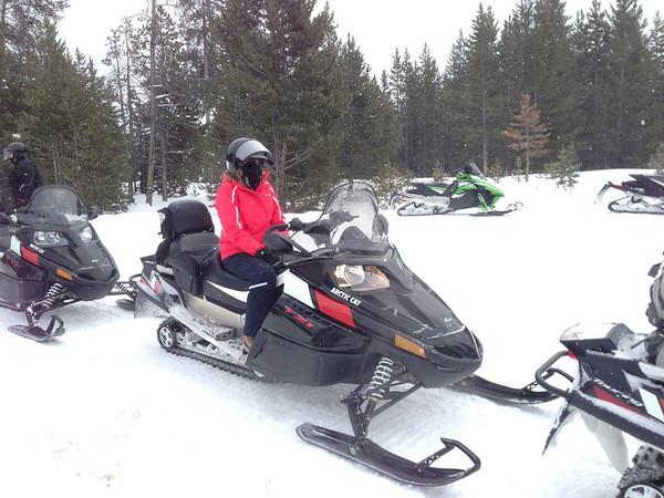 Sammi on our snow mobile.