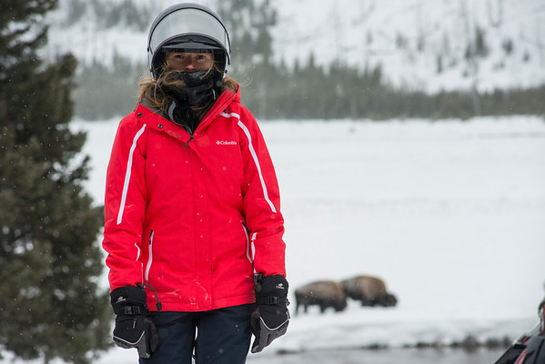 Sammi finally raised her visor so I could snap her in front of the Bison. She looks kinda pissed off here but really, under that neck warmer, she's smiling!