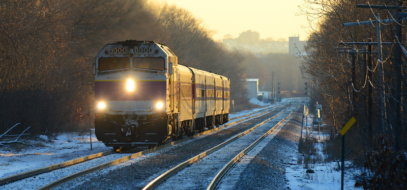 MBTA 453, the first outbound Fitchburg line train from Boston. December 27, 2013.