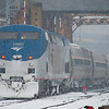 The Downeaster arrives at North Station in at the begining of a snow storm.