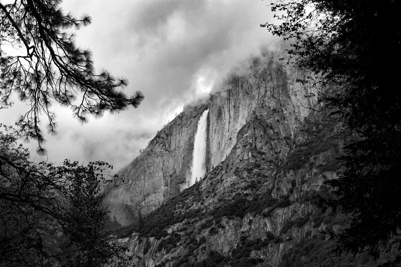 Yosemite Falls in Clouds