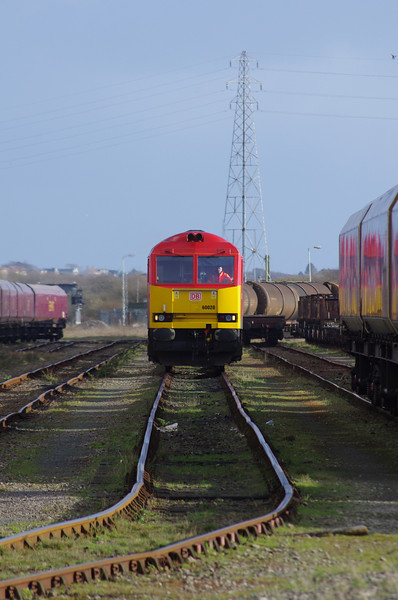 60020 runs down the Yard at Margam with the 11:27 from Theale Oil Terminal 22/03/14