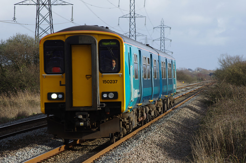 150237 passes Margam with the 14:35 Gloucester - Fishguard Harbour 22/03/14