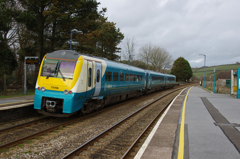 175106 departs Ferryside working the 09:30 Manchester Pic - Carmarthen 01/03/14