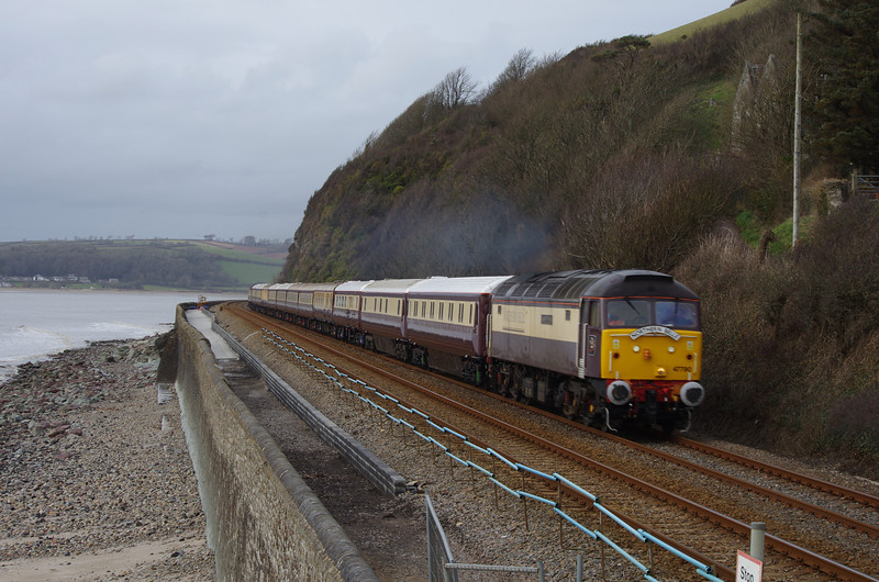 47790 with 47832 in the rear passes St Ishmael working the Northern Belle 11:59 Cardiff Ctl - Fishguard Hbr - Cardiff Central 01/03/14