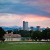 mountain sunset with colourful sky over the downtown city of Denver, Colodaro
